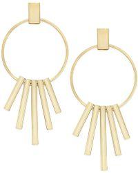 c.A.K.e. By Ali Khan - Gold-tone Decorative Drop Hoop Earrings - Lyst