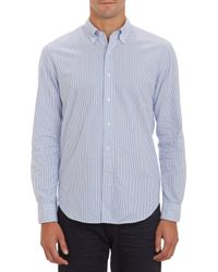 Barneys New York Stripe Oxford Cloth Shirt - Lyst