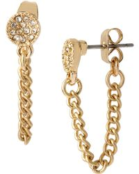 Kenneth Cole - Front Back Pave And Chain Stud Earrings - Lyst