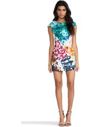Shakuhachi - Flower Bomb Embroidered Square Dress in Green - Lyst