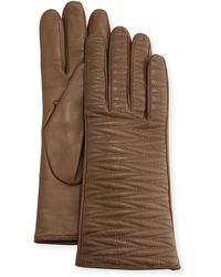 Portolano Woven-Topstitched Leather Gloves brown - Lyst