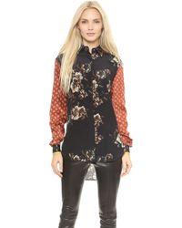 Jason Wu Combo Silk Floral Long Sleeve Blouse  Multi - Lyst