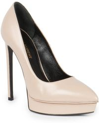 Saint Laurent Janis Leather Platform Pumps - Lyst
