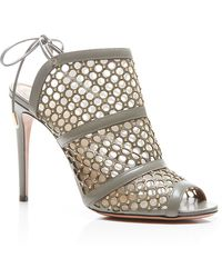 Aquazzura Blondie Studded Leather and Mesh Sandals - Lyst
