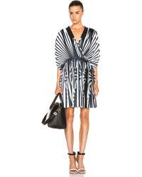 Givenchy Silk & Chiffon Striped Cross Front Dress - Lyst