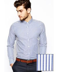 Asos Smart Shirt in Long Sleeve with Bold Stripe - Lyst