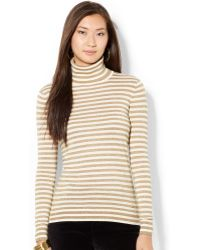 Lauren by Ralph Lauren Striped Turtleneck Sweater - Lyst