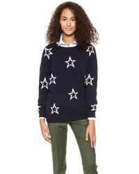 Chinti And Parker Star Outline Sweater Navy Cream - Lyst