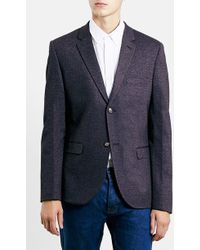 Topman Burgundy Skinny Fit Jersey Blazer - Lyst