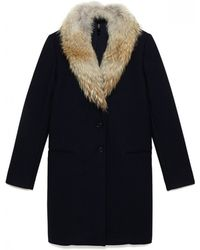Theory Belize Fur Collar Coat - Lyst
