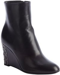 Dior Black Leather Cannage Day Wedge Ankle Boots - Lyst