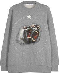 Givenchy - Grey Monkey-print Cotton Sweatshirt - Lyst