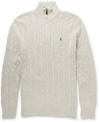 Polo Ralph Lauren Half-Zip Cable-Knit Tussah Silk Sweater - Lyst