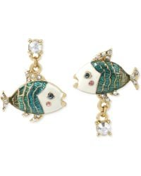 Betsey Johnson Goldtone Crystal and Bead Fish Mismatch Earrings - Lyst