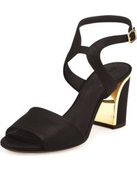 Chloé Leather Curve-heel Sandal - Lyst