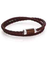 Tateossian Leather, Carbon Fiber and Sterling Silver Braided Bracelet brown - Lyst