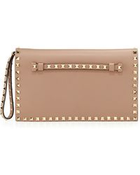 Valentino Rockstud Flap Wristlet Clutch Bag - Lyst