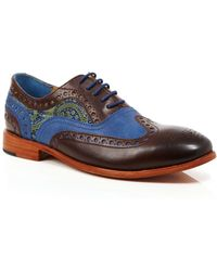 Robert Graham - Empire Leather And Silk Brogue Oxfords - Lyst