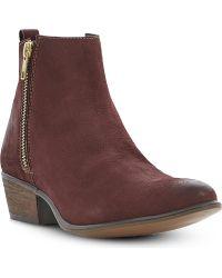 Steve Madden Neovista Leather Ankle Boots Burgundyleather - Lyst
