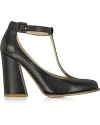 Chloé Black Leather Tbar Pump - Lyst