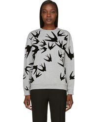 McQ by Alexander McQueen Grey and Black Velvet Flocked Swallow Sweatshirt - Lyst
