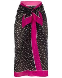 Paul Smith Black And Fuchsia Swimmers Print Sarong - Lyst