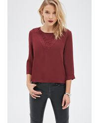 Love 21 Lace-Paneled Blouse - Lyst