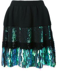 McQ by Alexander McQueen Sequins Embroidered Knitted Flared Skirt - Lyst