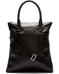 Diesel Black Gold Black Leather Fold_down Shopping Bag - Lyst