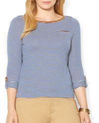 Ralph Lauren Lauren Plus Faux Suede Trim Top - Lyst