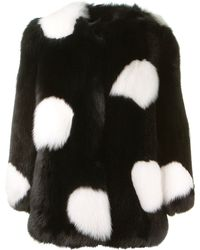 Saint Laurent Polka Dot Fox Fur Coat - Lyst
