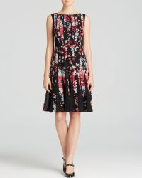Adrianna Papell Dress - Fractured Floral Pleat Skirt - Lyst