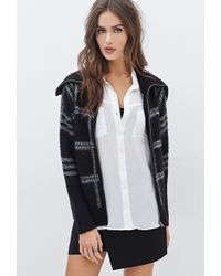 Forever 21 Fuzzy Plaid Shawl Collar Jacket - Lyst