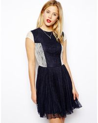 Asos Skater Dress In Pleated Lace - Lyst