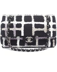 Chanel Preowned Painted Tweed Medium Double Flap Bag - Lyst