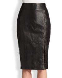 Alexander McQueen Stud-Detail Leather Pencil Skirt - Lyst
