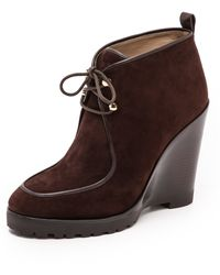 Michael Kors Collection Beth Wedge Booties  Chocolate - Lyst