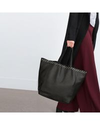 Zara | Studded Leather Tote | Lyst
