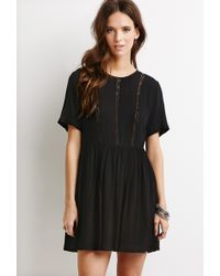 Forever 21 Lace-Paneled Smock Dress - Lyst