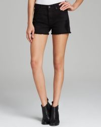 James Jeans Shorts Hunny High Rise Slightly Slouchy in Black Opaque - Lyst