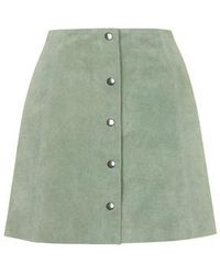 Topshop Suede Button Through A-Line Skirt green - Lyst