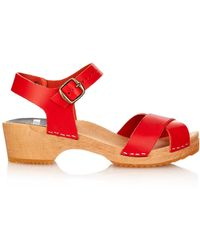 Funkis - 667 Crossover-Strap Leather Clogs - Lyst