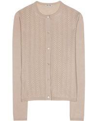 Miu Miu Beige Knitted Cardigan - Lyst