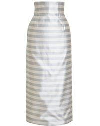 Katie Ermilio Striped Satin Midi Skirt - Lyst