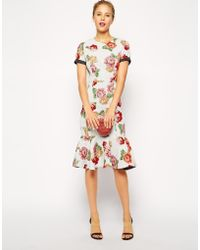 Asos Pencil Dress In Floral And Spot Jacquard - Lyst