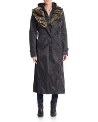 Creenstone - Full-length Faux Fur-trimmed Coat - Lyst