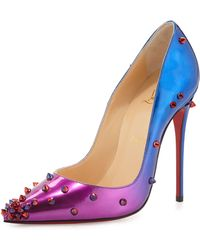 Christian Louboutin Degraspike Patent Red Sole Pump blue - Lyst