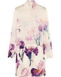 Nina Ricci Floralprint Silkgeorgette Mini Dress - Lyst