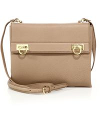 Ferragamo | Mya Double-lock Leather Crossbody Bag | Lyst