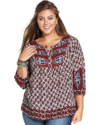 Lucky Brand Jeans Lucky Brand Plus Size Printed Top - Lyst